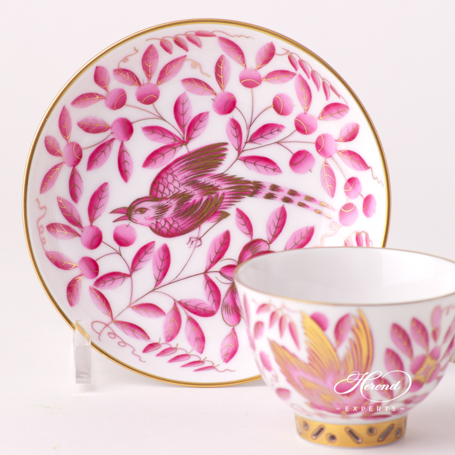 Tea / Coffee / Espresso Cup with Saucer 3371-0-21 ZOPA Purple ZOO design. Herend fine china tableware. Hand painted