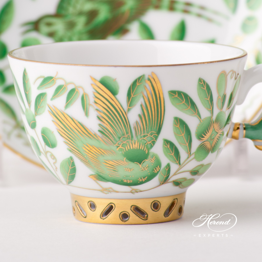 Tea /Coffee / Espresso Cup with Saucer 3371-0-21 ZOVA Green ZOO design. Herend fine china tableware. Hand painted
