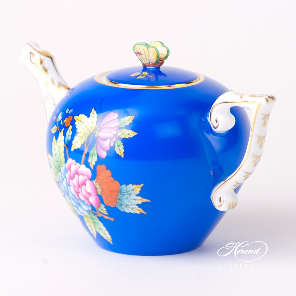 Miniature Tea Pot with Butterfly Knob 20608-0-17 VE-FB Queen Victoria VBO design on Blue Background. Herend fine china tableware. Hand painted