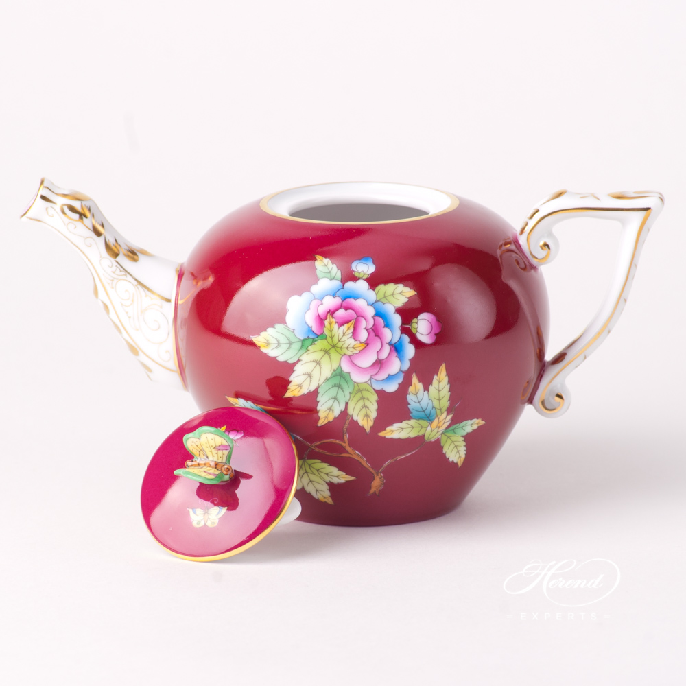 Miniature Tea Pot w. Butterfly Knob 20608-0-17 VE-FP Queen Victoria VBO design on Purple Background. Herend fine china