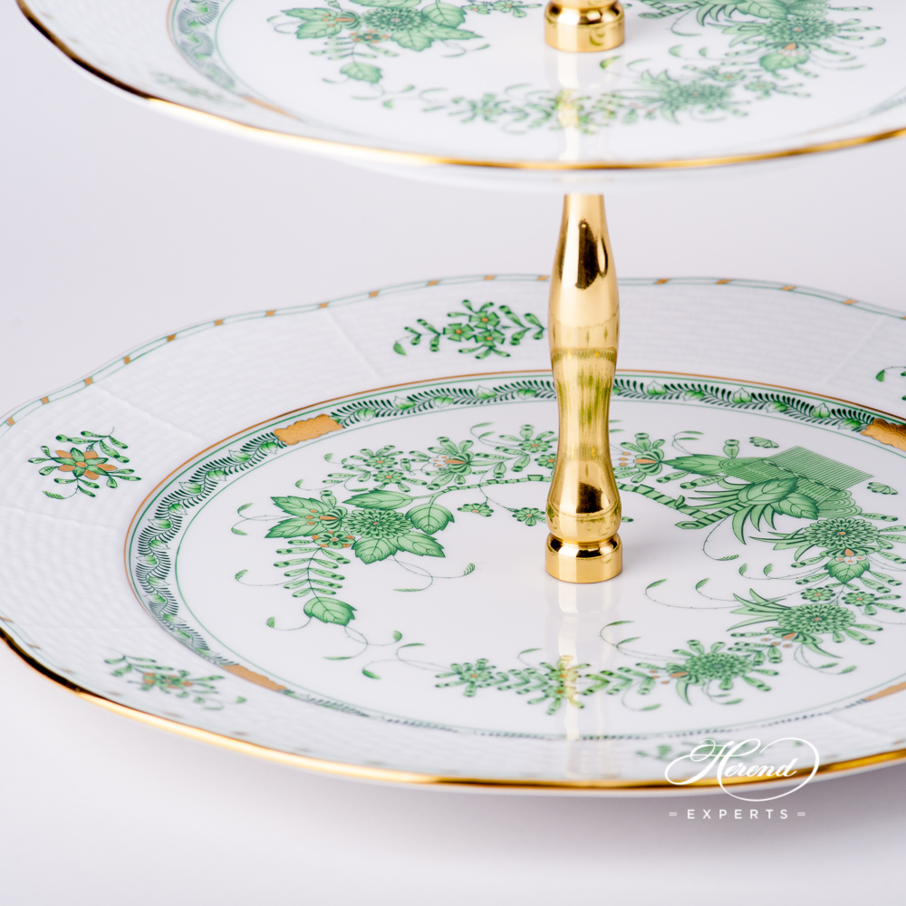 Cake Stand 3 Tier w. Gilded Metal Handle 309-0-92 FV Indian Basket Greendesign. Herend fine china hand painted. Tableware