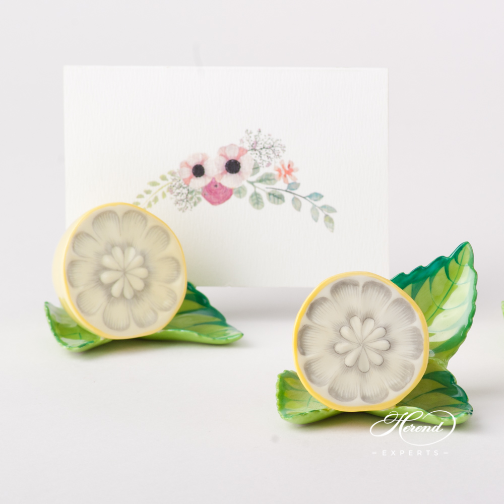 Lemon on Leaf  / Menu Holder 8978-0-00 C Naturalistic pattern. Herend fine china hand painted