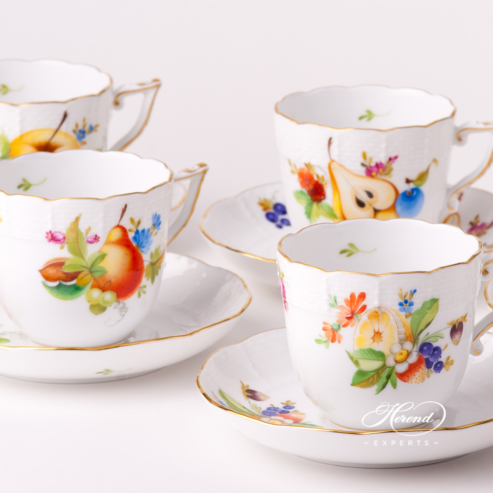 Coffee Cup with Saucer706-0-00 CFR Fruits design. Herend fine china tableware. Hand painted