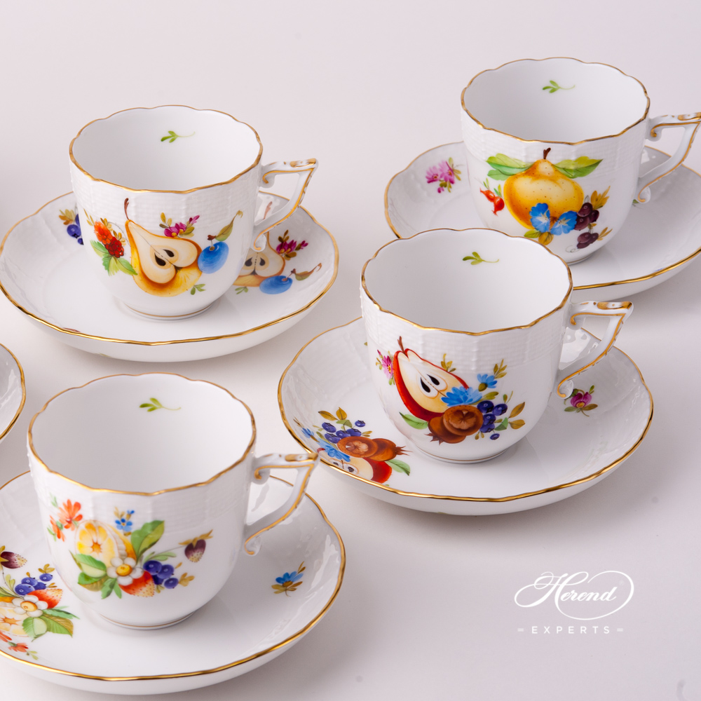 Coffee Cup with Saucer 706-0-00 CFR Fruits design. Herend fine china tableware. Hand painted