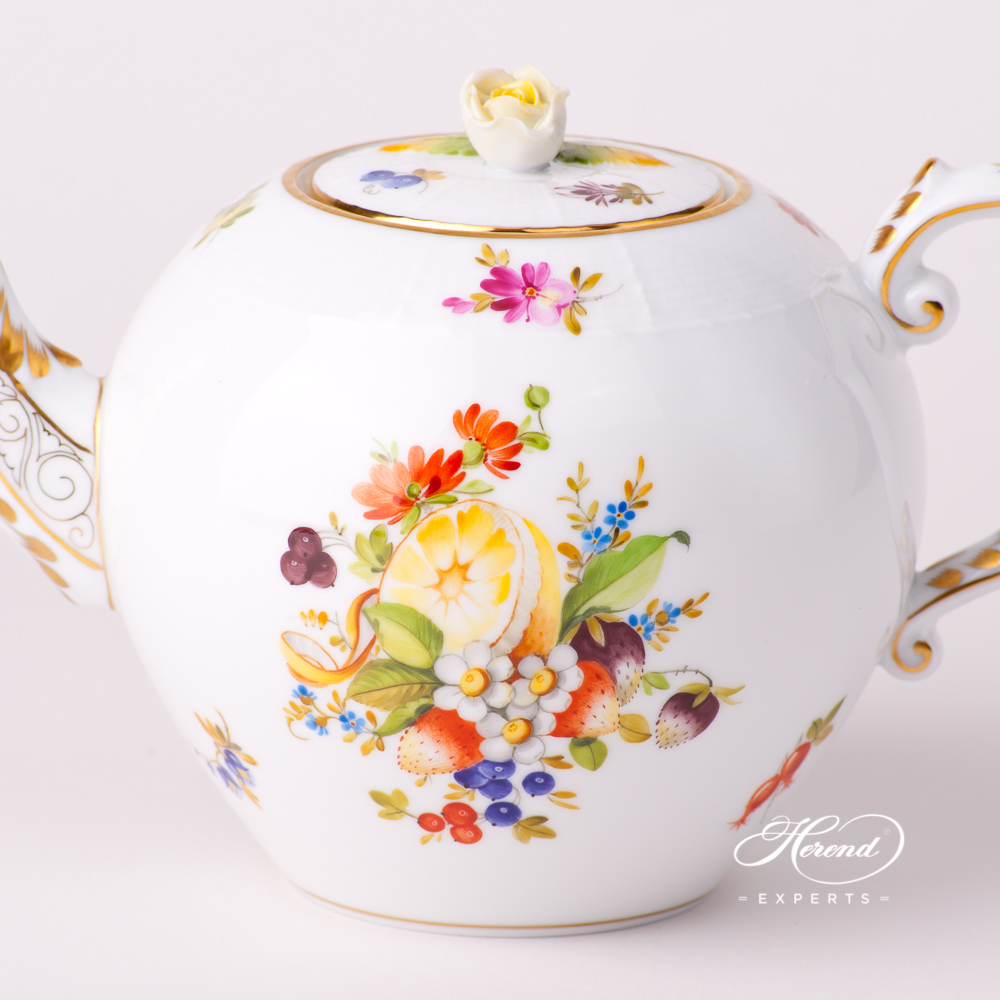 Tea Pot with Rose Knob 20605-0-09 CFR Fruits design. Herend fine china tableware. Hand painted