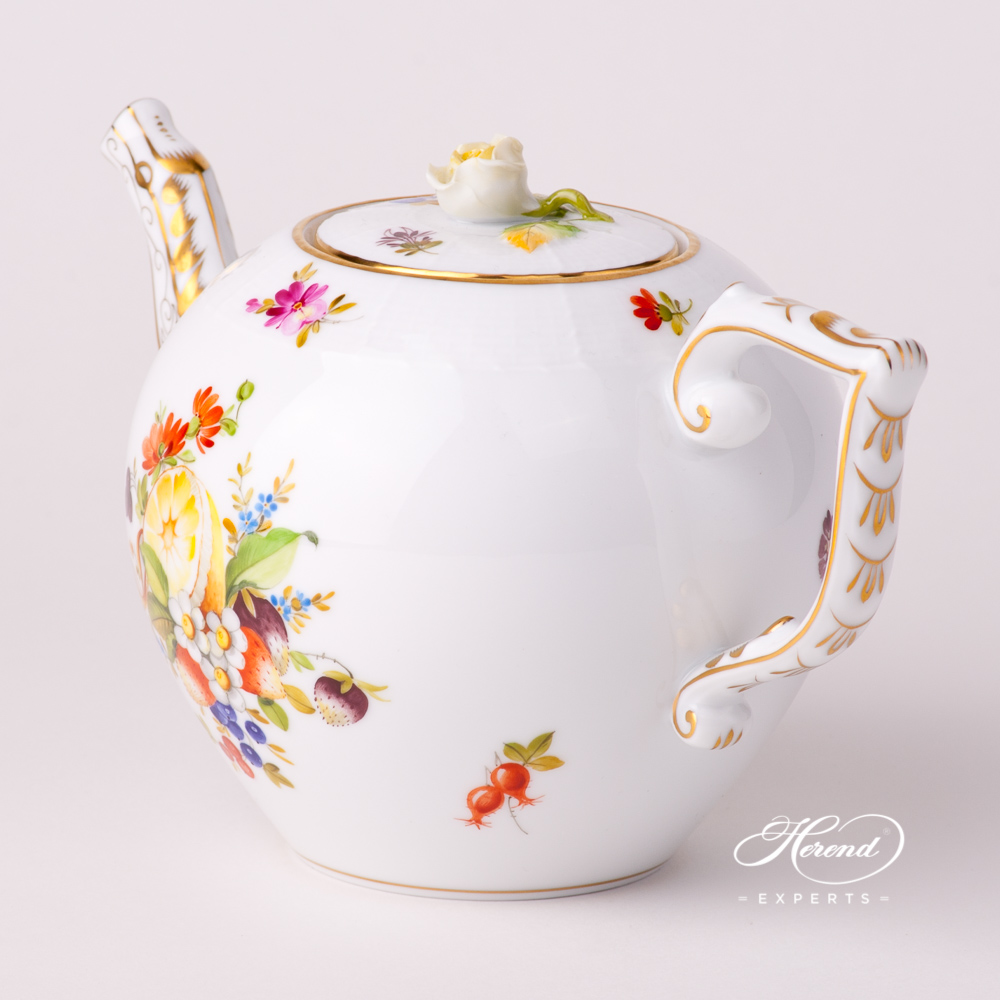 TeaPot withRose Knob20605-0-09 CFR Fruits design. Herend fine china tableware. Hand painted