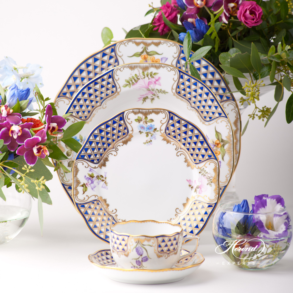 Place Setting 5 Pieces - Herend Mosaic and Flowers - MTFC design. Herend fine china tableware. Hand painted