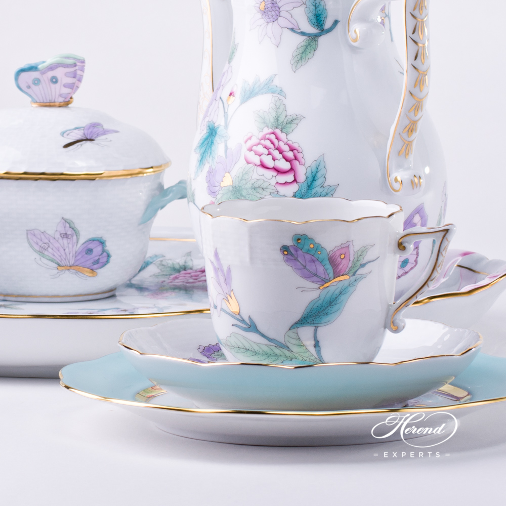Coffee Set w. Ribbon Tray for 2 Persons- HerendRoyal Garden TurquoiseEVICT2 pattern. Herend fine china hand painted. Modern style
