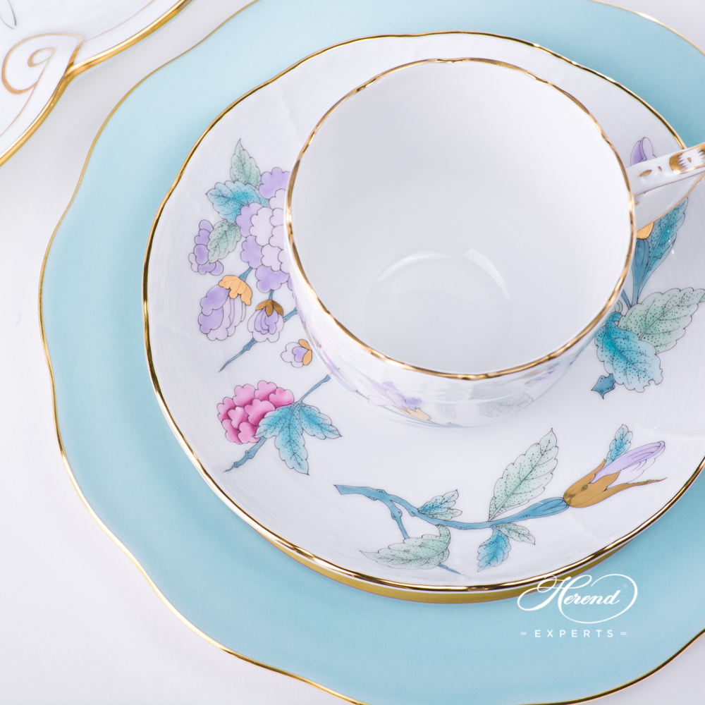 Coffee Set w. Ribbon Tray for 2 Persons - Herend Royal Garden Turquoise EVICT2 pattern. Herend fine china hand painted. Modern style