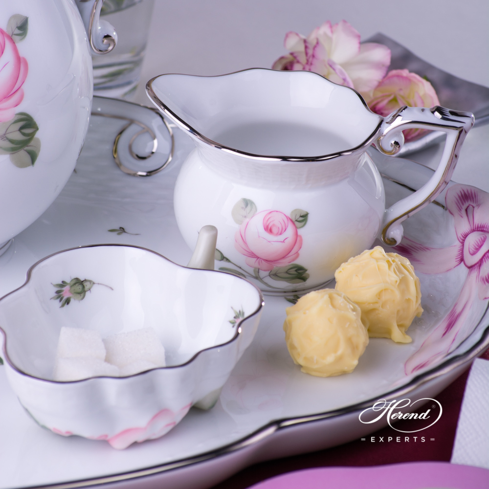 Coffee Set for 2 Persons w. Dessert Plate - Herend Vienna Rose Platinum VGR-PTpattern. Herend fine china hand painted. Classic Herend Flower pattern