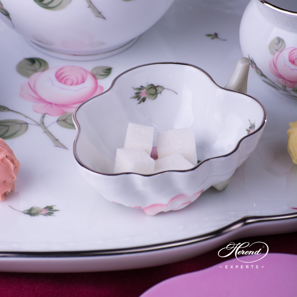 Coffee Set for 2 Persons w. Dessert Plate - Herend Vienna Rose Platinum VGR-PT pattern. Herend fine china hand painted. Classic Herend Flower pattern