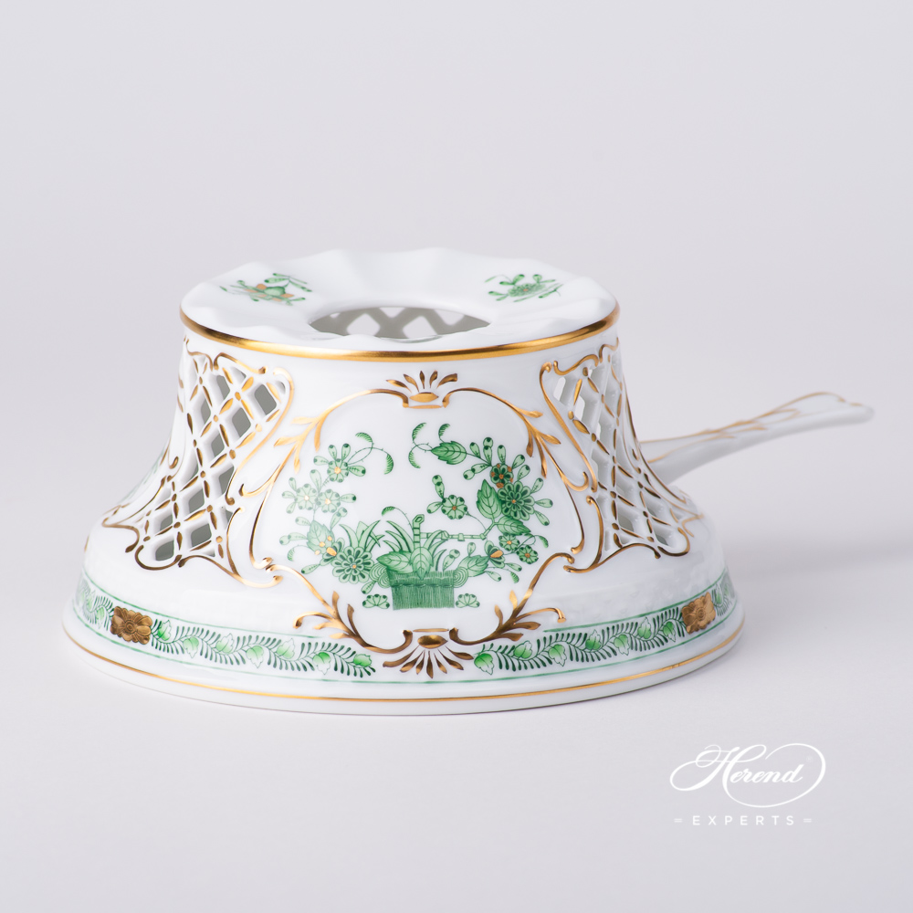 Tea Stove w. Inlay 455-0-00 FV Indian Basket Green pattern. Herend fine china hand painted. Classic Herend pattern