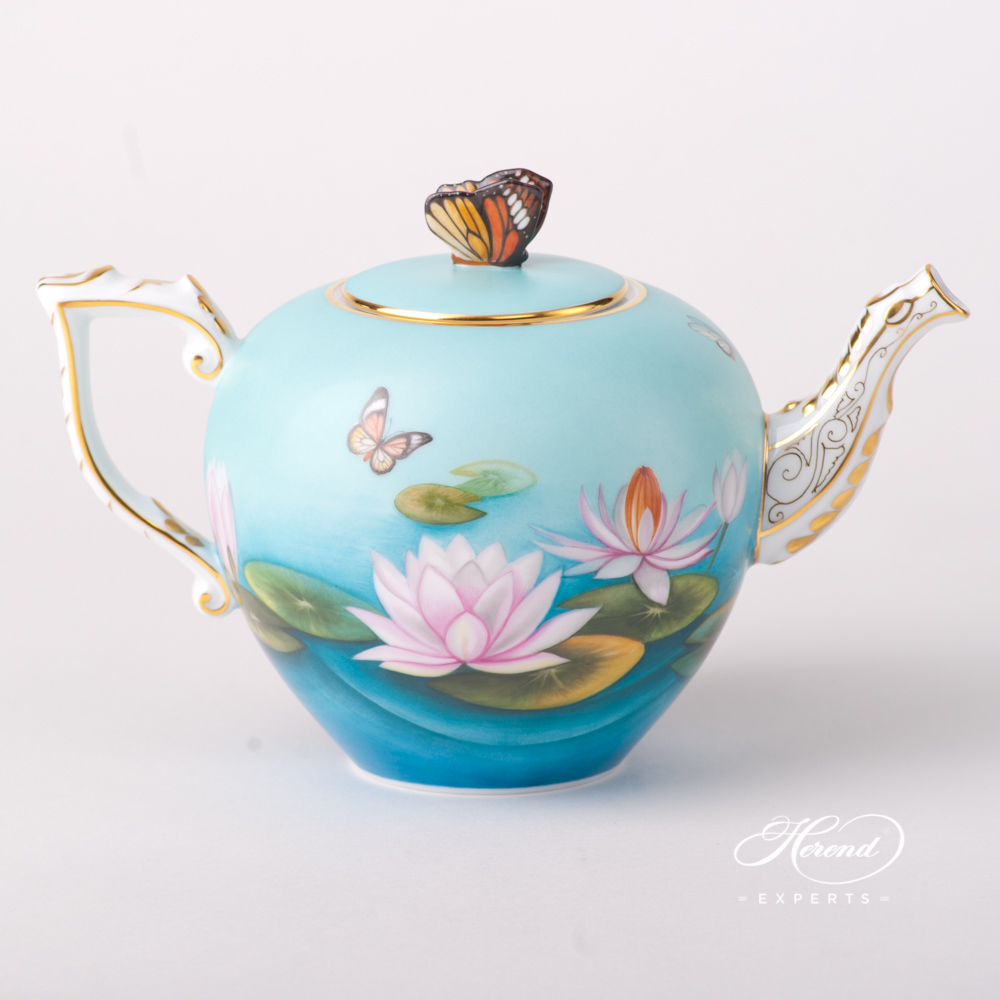 Tea Pot w. Butterfly Knob 20606-0-17 Water Lily / Lotus Flower design. Herend fine china tableware. Hand painted
