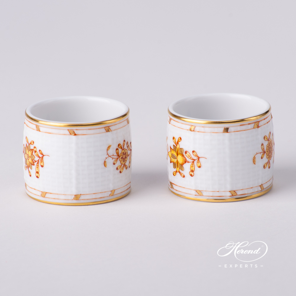 Napkin Ring272-0-00 FJ Indian Basket Yellow design. Herend fine china tableware. Hand painted