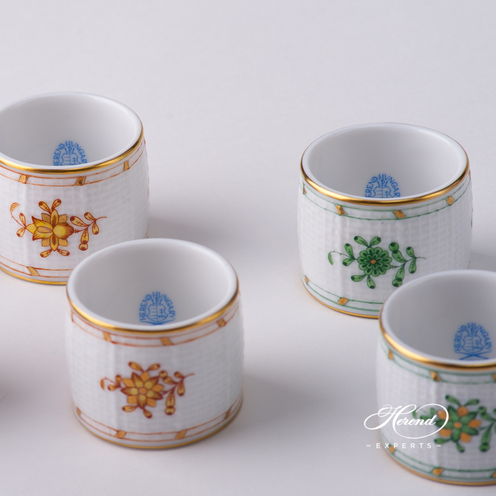 Napkin Rings - Herend Indian Basket Yellow and Green designs. Herend fine china tableware. Hand painted