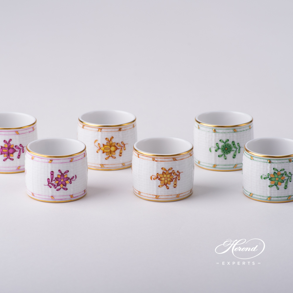 Napkin Rings- Indian Basket Purple, Yellow and Green designs. Herend fine china tableware. Hand painted