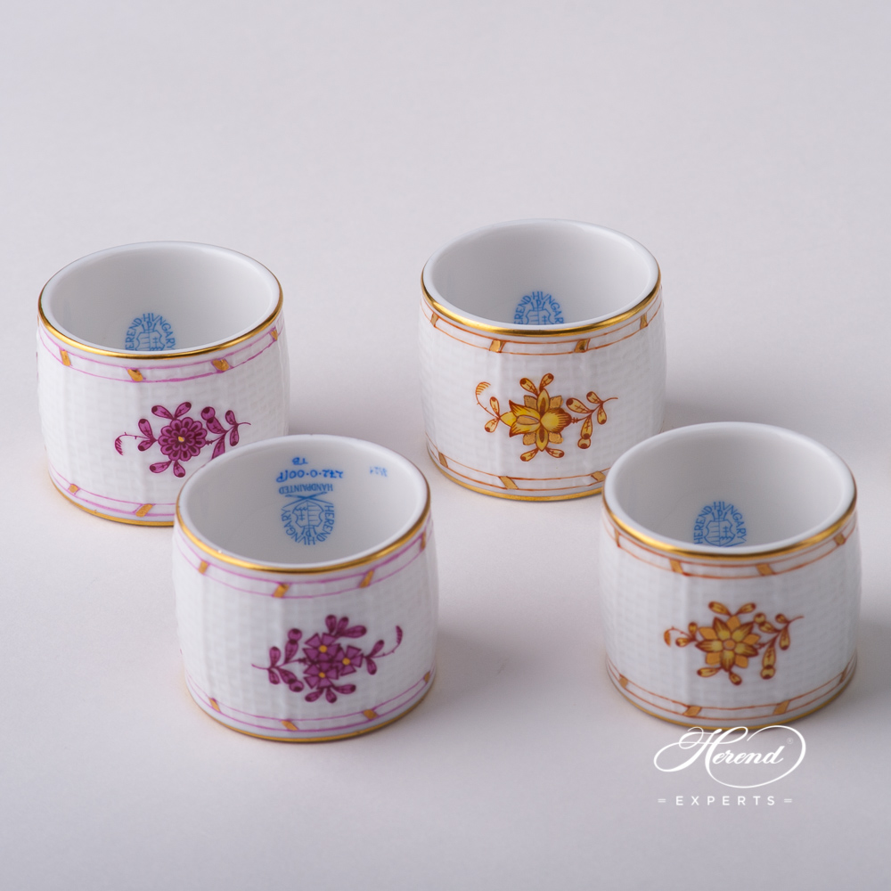 Napkin Rings- Indian Basket Purple and Yellow designs. Herend fine china tableware. Hand painted