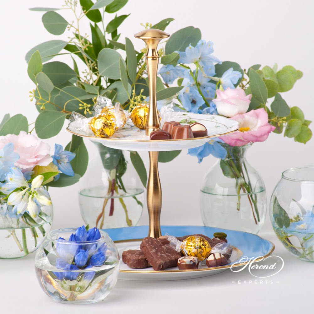 Cake Stand 2 Tier w. Metal Handle 20308-0-92 Nyon - Herend Nyon / Morning Glory design. Herend fine china tableware. Hand painted