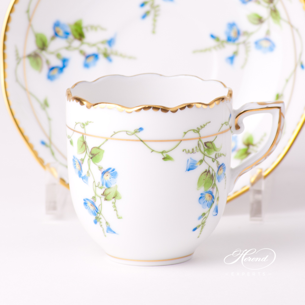Coffee / Espresso Cup with Saucer 20709-0-00 NY Nyon / Morning Glory design. Herend fine china tableware. Hand painted