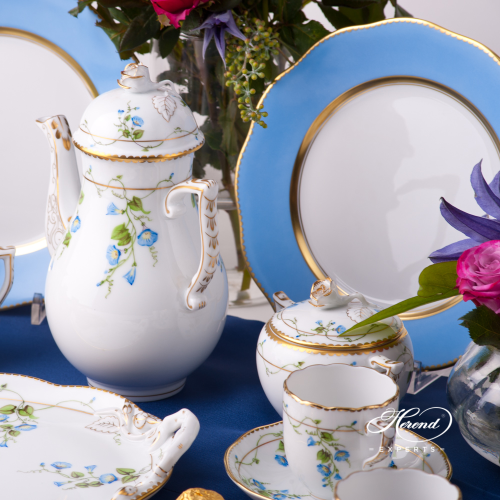 Coffee / Espresso Set for 4 Persons w. Blue Dessert Plates - Herend Nyon / Morning Glory design. Herend fine china tableware. Hand painted
