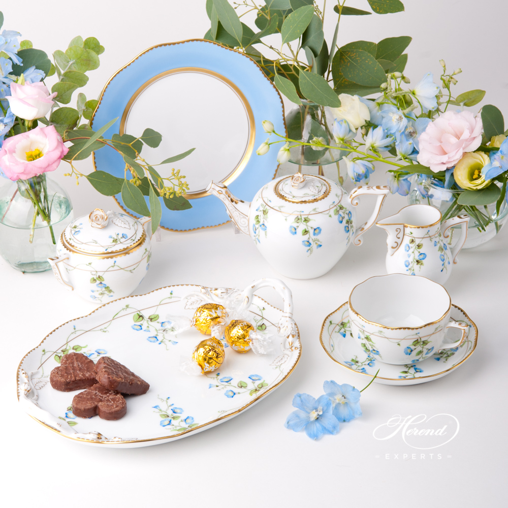 Tea Set for 1 Person with Blue Dessert Plate - Herend Nyon / Morning Glory design. Herend fine china tableware. Hand painted