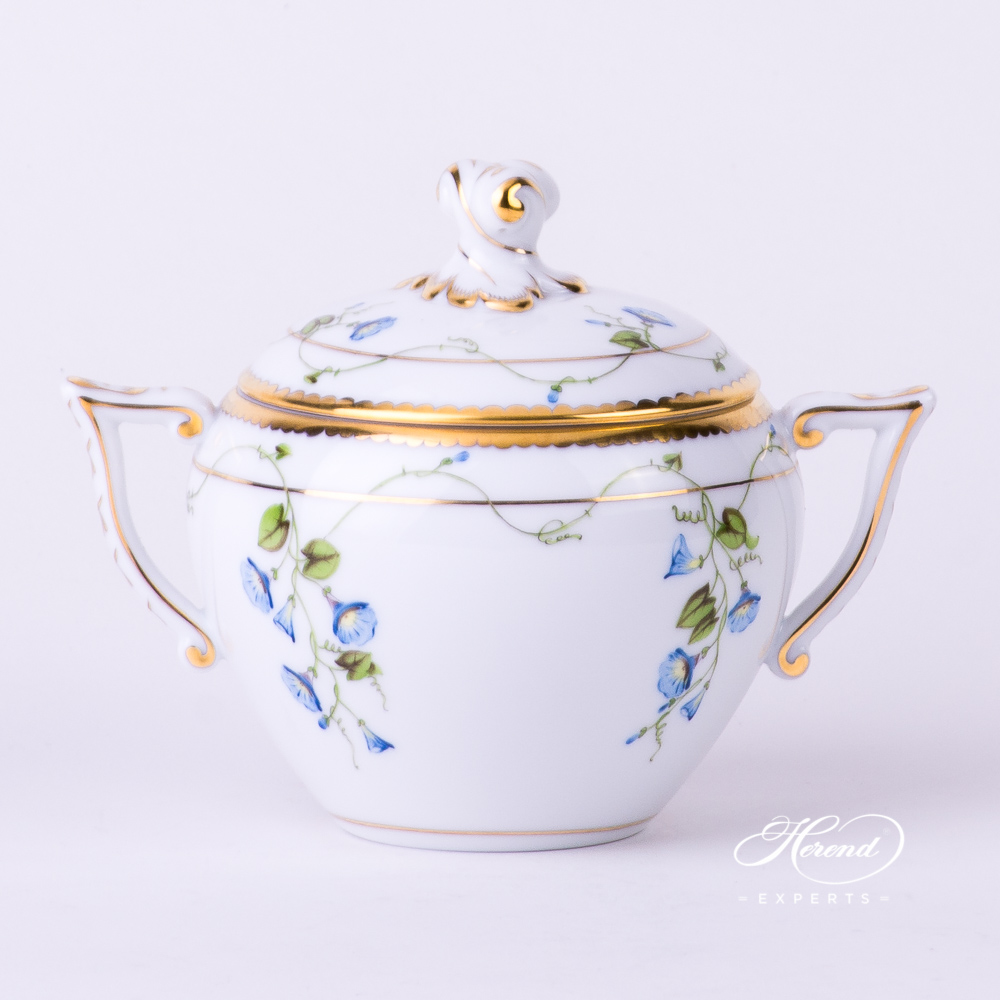 Sugar Basin w. Twisted Knob 20472-0-06 NY Nyon / Morning Glory design. Herend fine china tableware. Hand painted