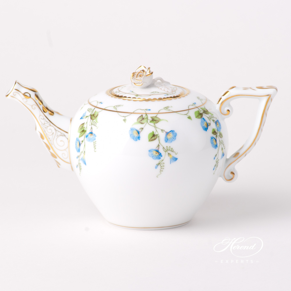 Miniature Tea Pot w. Rose Knob 20608-0-09 NY Nyon / Morning Glory design. Herend fine china tableware. Hand painted