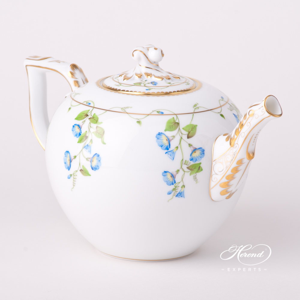 Tea Pot w. Twisted Knob 20604-0-06 NY Nyon / Morning Glory design. Herend fine china tableware. Hand painted