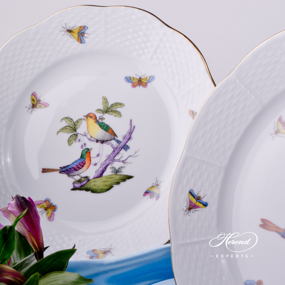 Place Setting 4 Pieces - Herend Rothschild Bird Mayer - ROM design. Herend fine china tableware. Hand painted. Classical Herend design