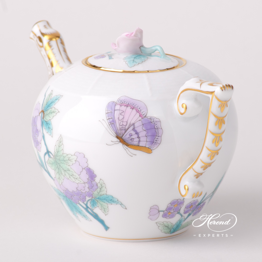 Miniature Tea Pot w. Rose Knob 608-0-09 EVICT2 Royal Garden Turquoise design. Herend fine china tableware. Hand painted