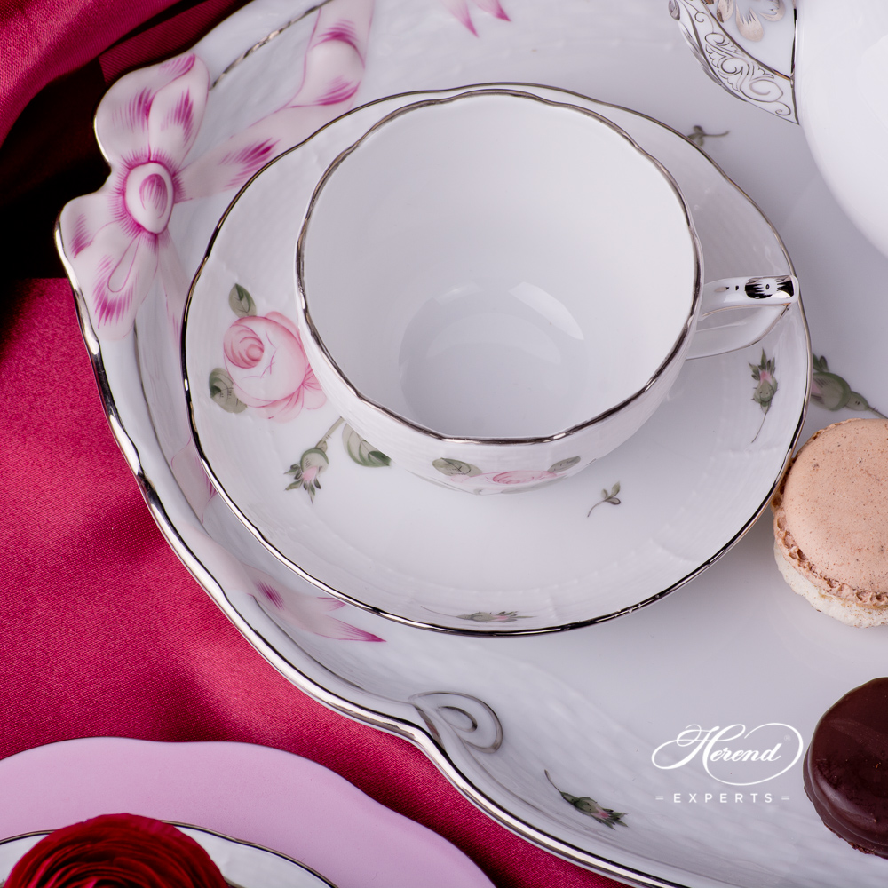 Tea Set for 2 Persons w. Dessert Plate - Herend Vienna Rose Platinum VGR-PTpattern. Herend fine china hand painted. Classic Herend Flower pattern