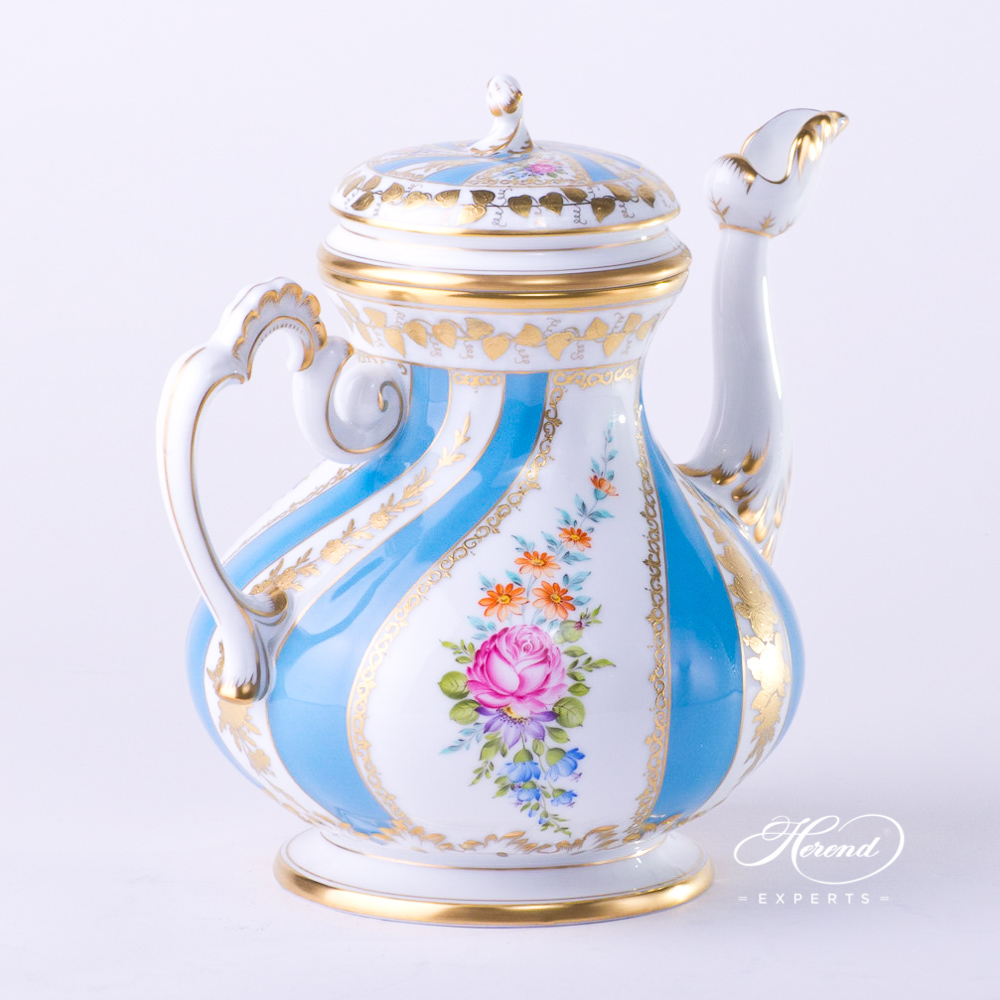 Tea / Coffee Pot w. Twisted Knob 3681-0-06 Colette design. Herend fine china tableware. Hand painted