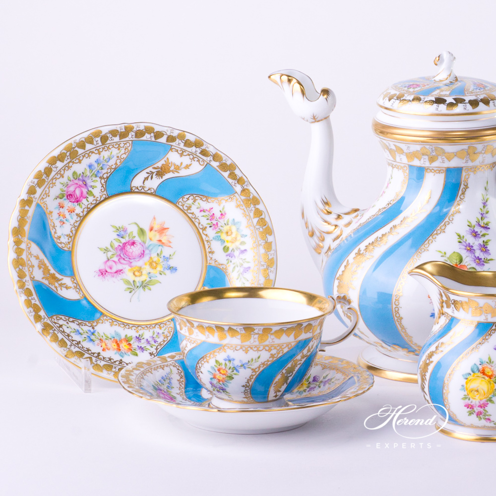 Tea Set / Coffee Set for 2 Persons - Herend Colette design. Herend fine china tableware. Hand painted