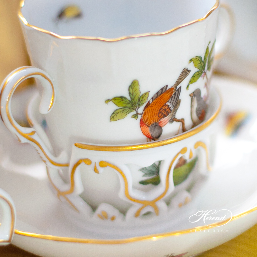 Chocolate Cup w. Saucer 712-0-00 RO Rothschild Bird design. Herend fine china hand painted. Classical style tableware