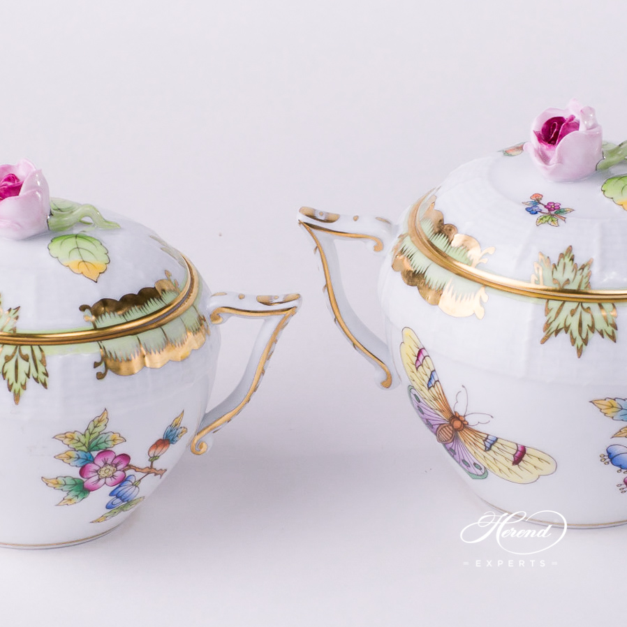 Sugar Basin w. Rose Knob 472-0-09 VBO Queen Victoria design. Herend fine china tableware. Hand painted
