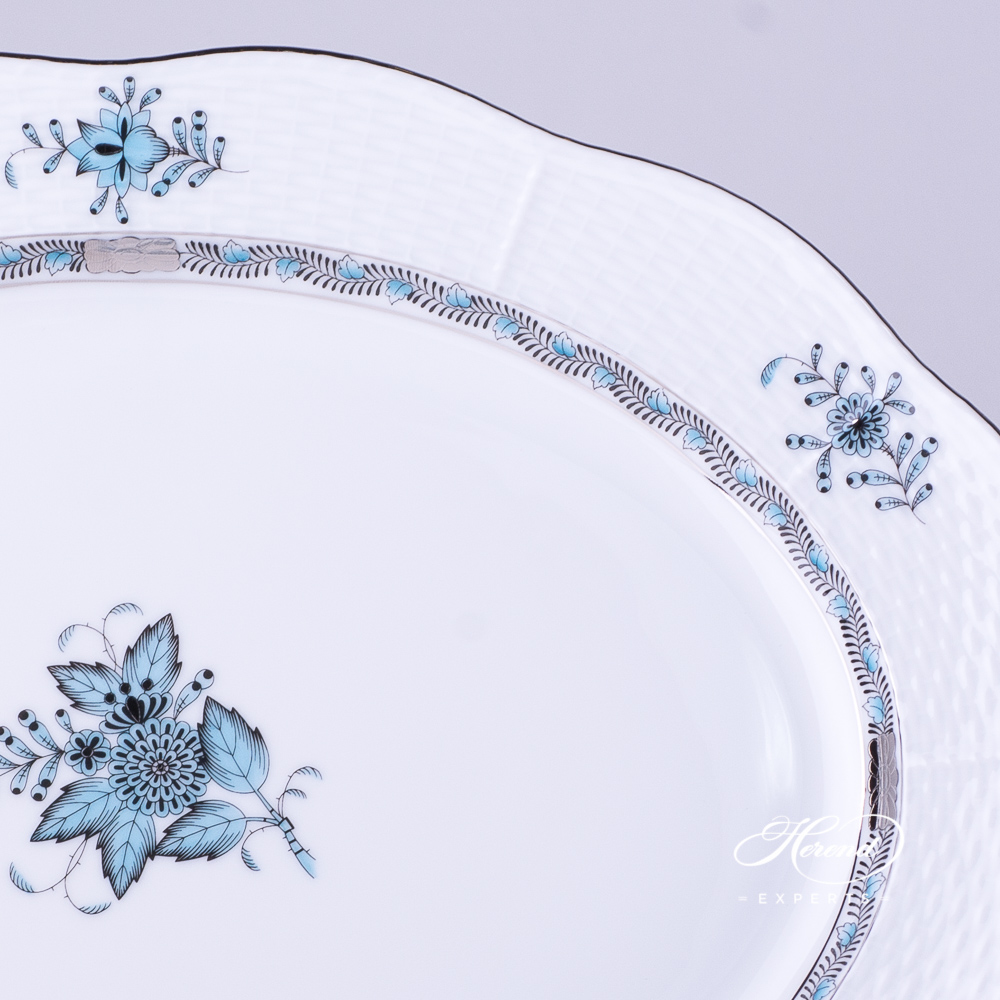 Oval Dish102-0-00 ATQ3-PT Chinese Bouquet / Apponyi Turquoise w. Platinumdesign. Herend fine china
