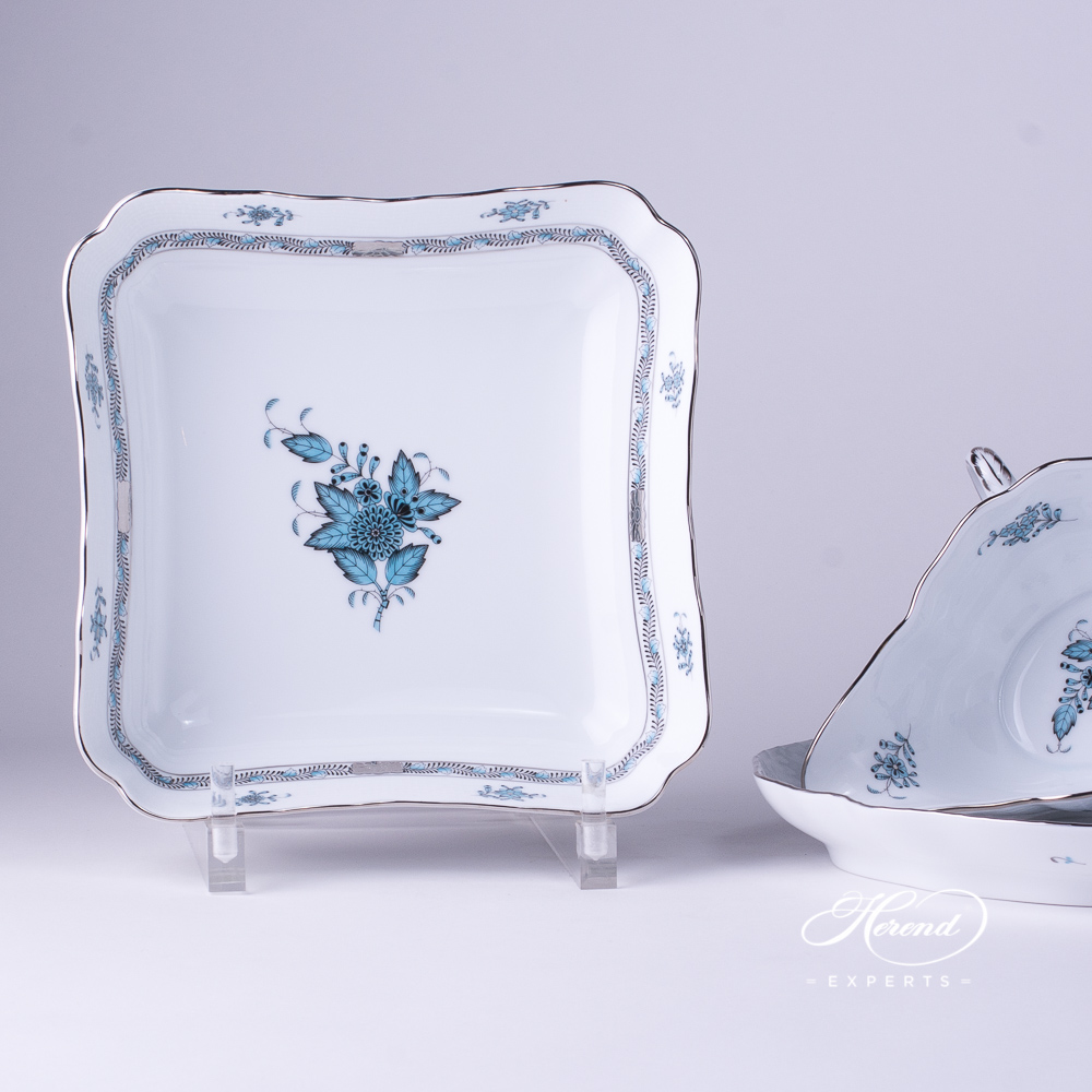 Salad Dish 182-0-00 ATQ3-PT Chinese Bouquet / Apponyi Turquoise w. Platinum design. Square Shaped. Herend fine china