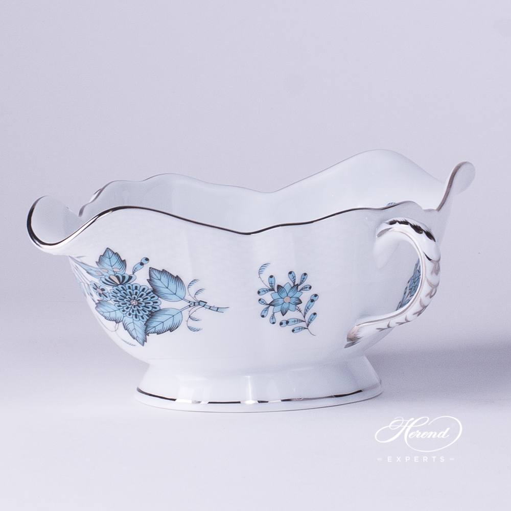 Sauce Boat / Gravy Boat 220-0-00 ATQ3-PT Chinese Bouquet / Apponyi Turquoise w. Platinum pattern. Herend fine china
