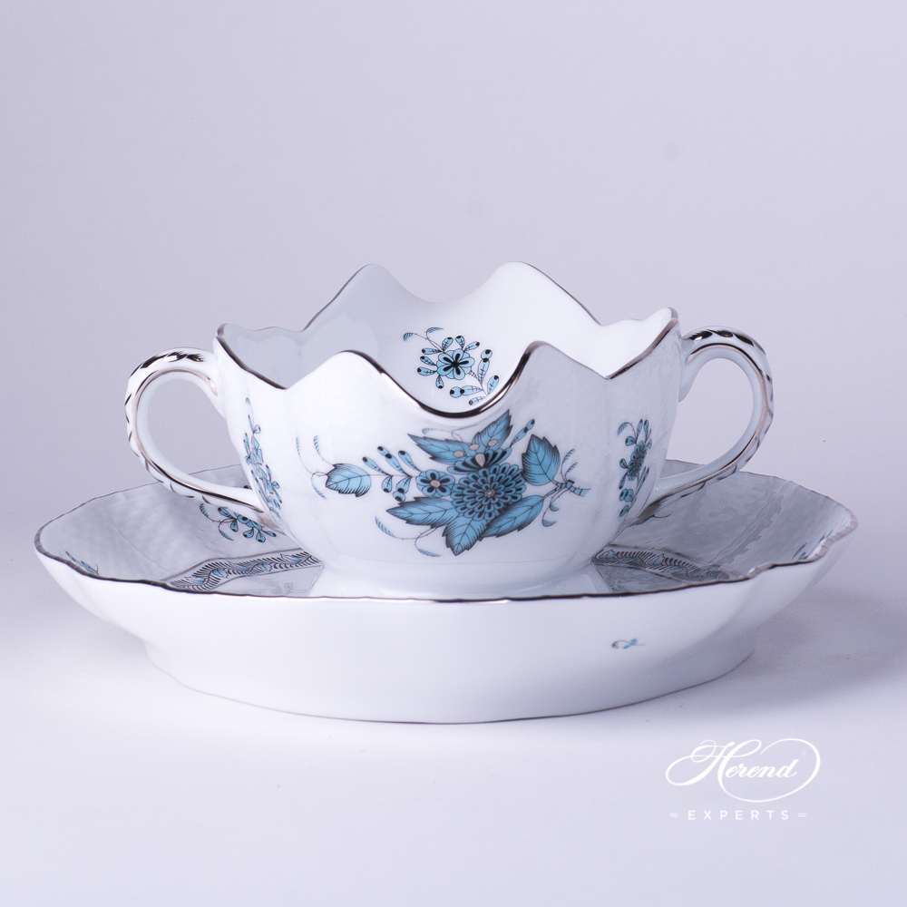 Sauce Boat / Gravy Boat w. Oval Dish 220-0-00 ATQ3-PT Chinese Bouquet / Apponyi Turquoise w. Platinum pattern. Herend fine china