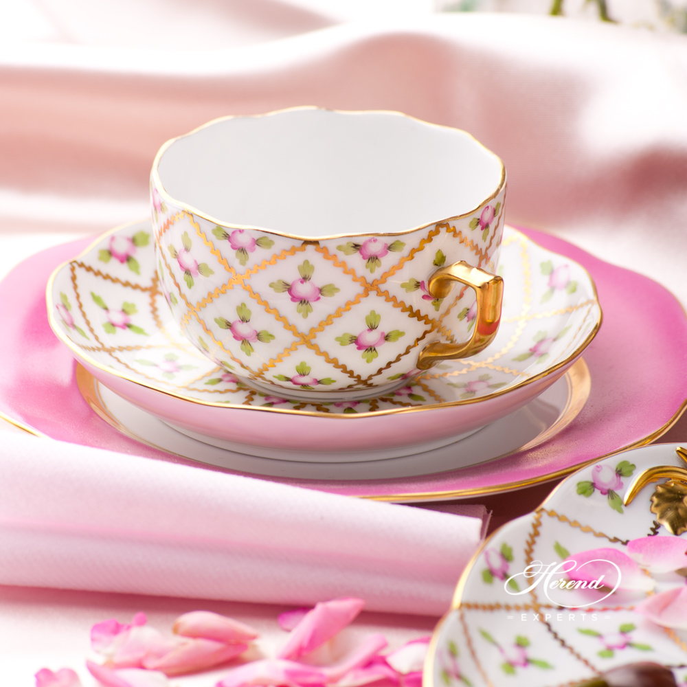 Tea Set for 2 Persons - Sevres Roses SPROG design. Herend fine china hand painted. Classic Herend pattern