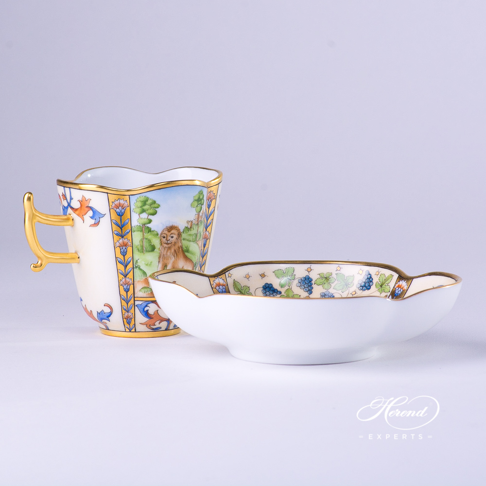CoffeeCup with Saucer4168-0-00 MM Medieval MiniaturesJuly design. Herend fine china tableware. Special Hadik porcelain shape. Hand painted