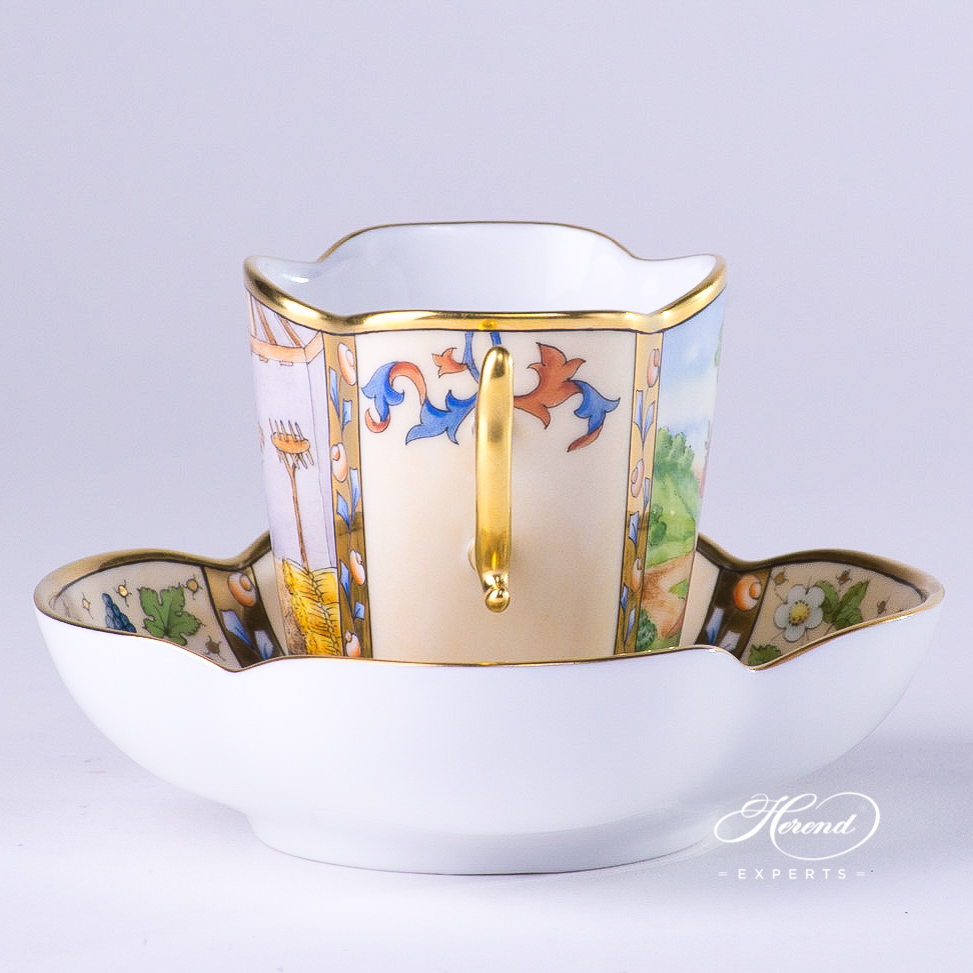 CoffeeCup with Saucer4168-0-00 MM Medieval MiniaturesAugust design. Herend fine china tableware. Special Hadik porcelain shape. Hand painted