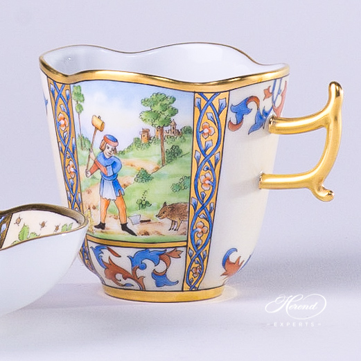 Coffee Cup with Saucer 4168-0-00 MM Medieval Miniatures December design. Herend fine china tableware. Special Hadik porcelain shape. Hand painted