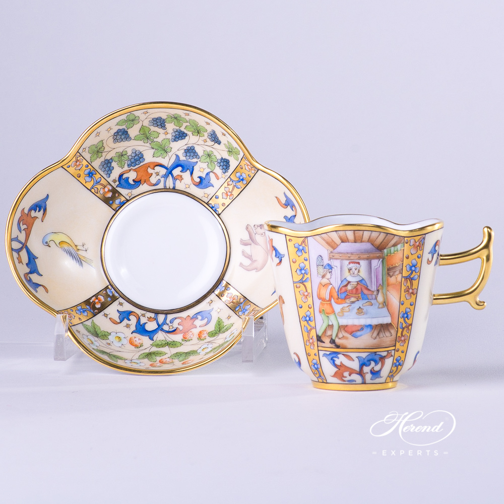CoffeeCup with Saucer4168-0-00 MM Medieval MiniaturesJanuary design. Herend fine china tableware. Special Hadik porcelain shape. Hand painted