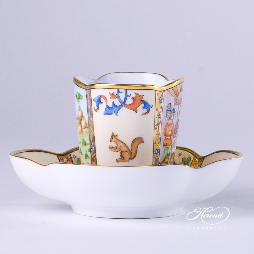 Coffee Cup with Saucer 4168-0-00 MM Medieval Miniatures January design. Herend fine china tableware. Special Hadik porcelain shape. Hand painted
