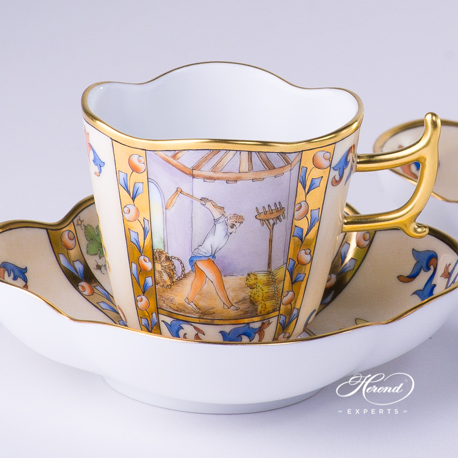 Coffee Cup with Saucer 4168-0-00 MM Medieval Miniatures August design. Herend fine china tableware. Special Hadik porcelain shape. Hand painted