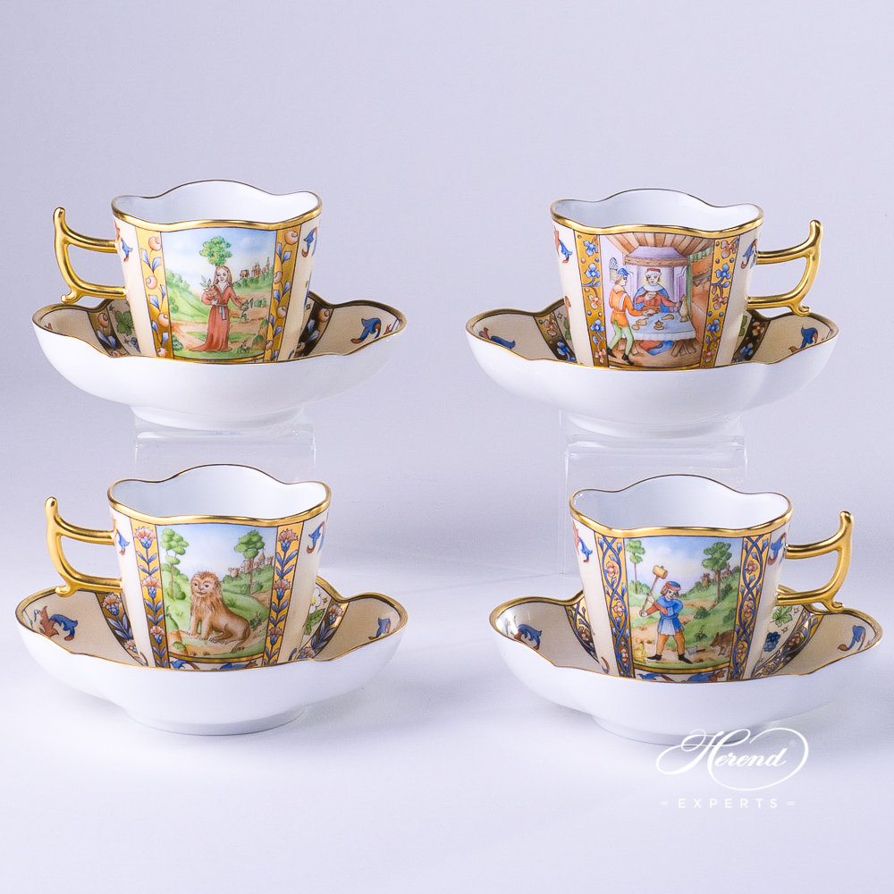 CoffeeCups with Saucers4168-0-00 MM Medieval MiniaturesJanuary, July, August and December designs. Herend fine china tableware. Special Hadik porcelain shape. Hand painted