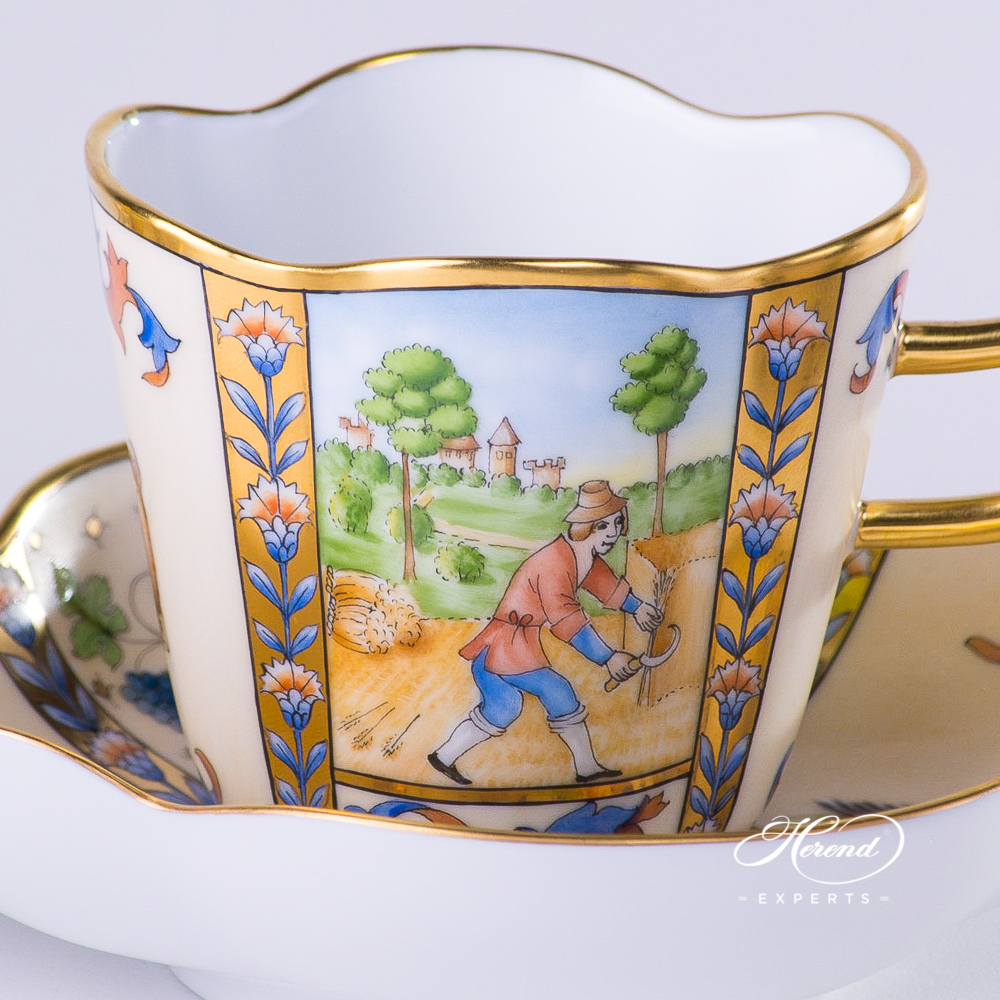 Coffee Cup with Saucer 4168-0-00 MM Medieval Miniatures July design. Herend fine china tableware. Special Hadik porcelain shape. Hand painted