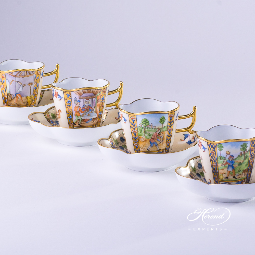 Coffee Cups w. Saucers 4168-0-00 MM Medieval Miniatures January, July, August, and December designs. Herend fine china