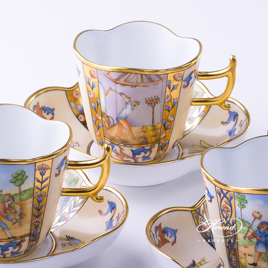 CoffeeCups w. Saucers4168-0-00 MM Medieval MiniaturesJanuary, July, August, and December designs. Herend fine china